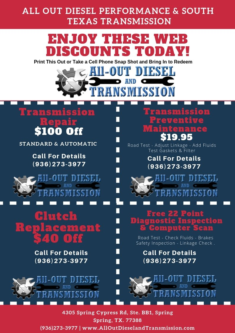Transmission Repair Spring TX Discount Coupons
